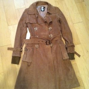 Jackets & Blazers - Belted Genuine Suede Trench Coat XS